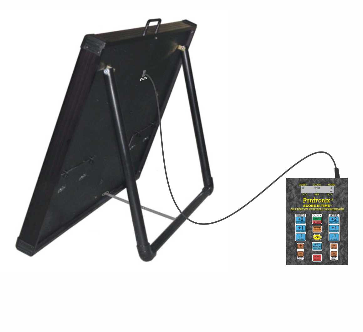 Multisport Portable Scoreboard with side view with fold out leg
